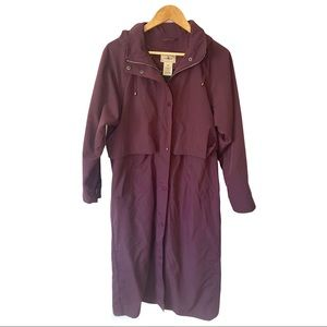 LL Bean Red Duster Rain Trench Coat w/Liner Small